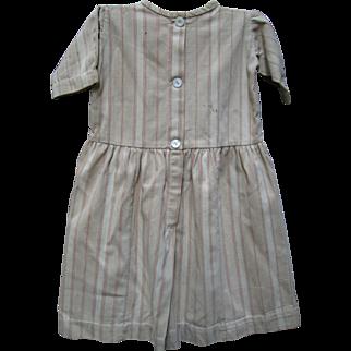 Antique Child's Primitive Brown Ticking Dress