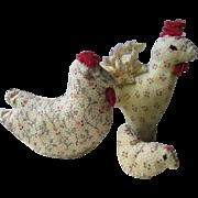 Vintage Mennonite Spool Chickens, PA Folk Art