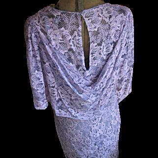 Vintage 1930's Purple Bias Lace Gown