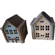 Antique Putz, Small Houses, Pair, Tramp/Folk-Art