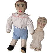 "Vintage Mennonite Cloth Boy 16"" Doll, Plus Early Doll"
