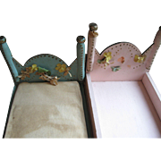 Vintage Folk Art Doll Beds, Pair-Make Do Era