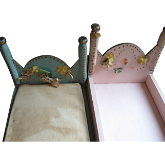 Vintage Folk Art Doll Beds, Pair-Make Do Era