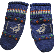 Early Child's Blue Knitted Mittens, Birds