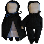 "Vintage Amish 11"" Cloth Dolls, Jointed Pair"
