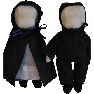 """Vintage Amish 11"""" Cloth Dolls, Jointed Pair"""
