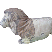Early Vintage Litho Printed Cloth Stuffed Lion
