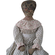 """Antique  Oil Painted  25"""" Cloth/Rag Doll"""