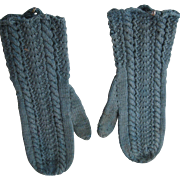 Antique Early Blue Children's Knitted Mittens