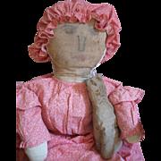 "Antique 30"" PA Dutch Rag/Cloth Doll, Calico Dress, Provenance"