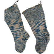 Antique Early Blue Children's Stockings