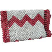 Antique Sewing, Needle Case, Red Crochet