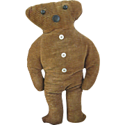"Early, Folk Art Teddy Bear 11"" Cloth Doll"
