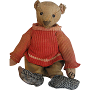 "Antique Steiff 12"" Bear in Red Sweater Outfit"