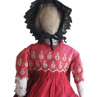 """Early, Large 27"""" Antique Cloth/Rag Doll, PA"""