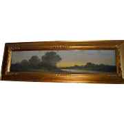 Antique Yard-long Oil Painting Country Landscape Gold Gilt Frame