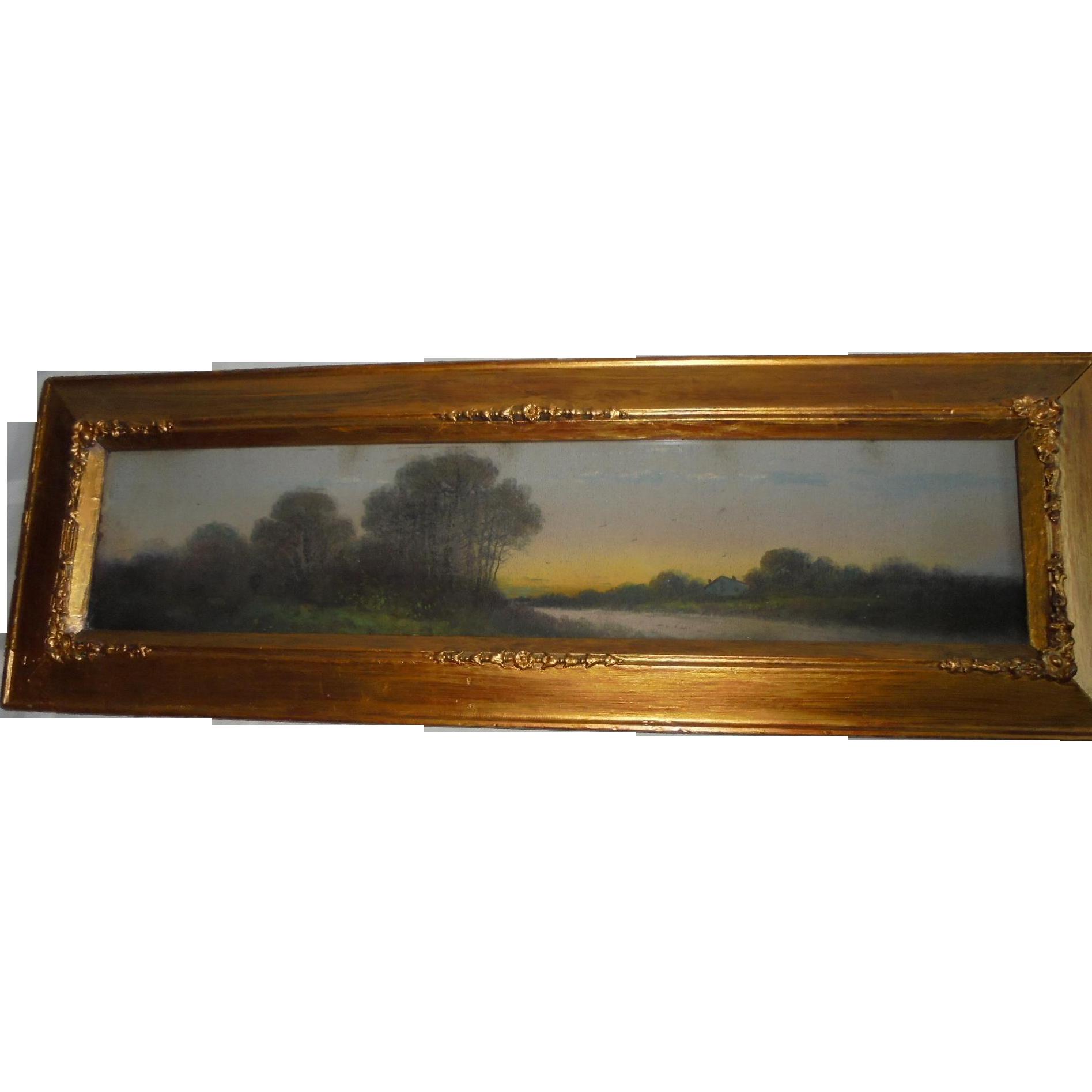 Antique Yard Long Oil Painting Country Landscape Gold Gilt Frame From Randomharvest On Ruby Lane