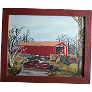 Conewago Creek Pennsylvania Oil Painting Red Covered Bridge