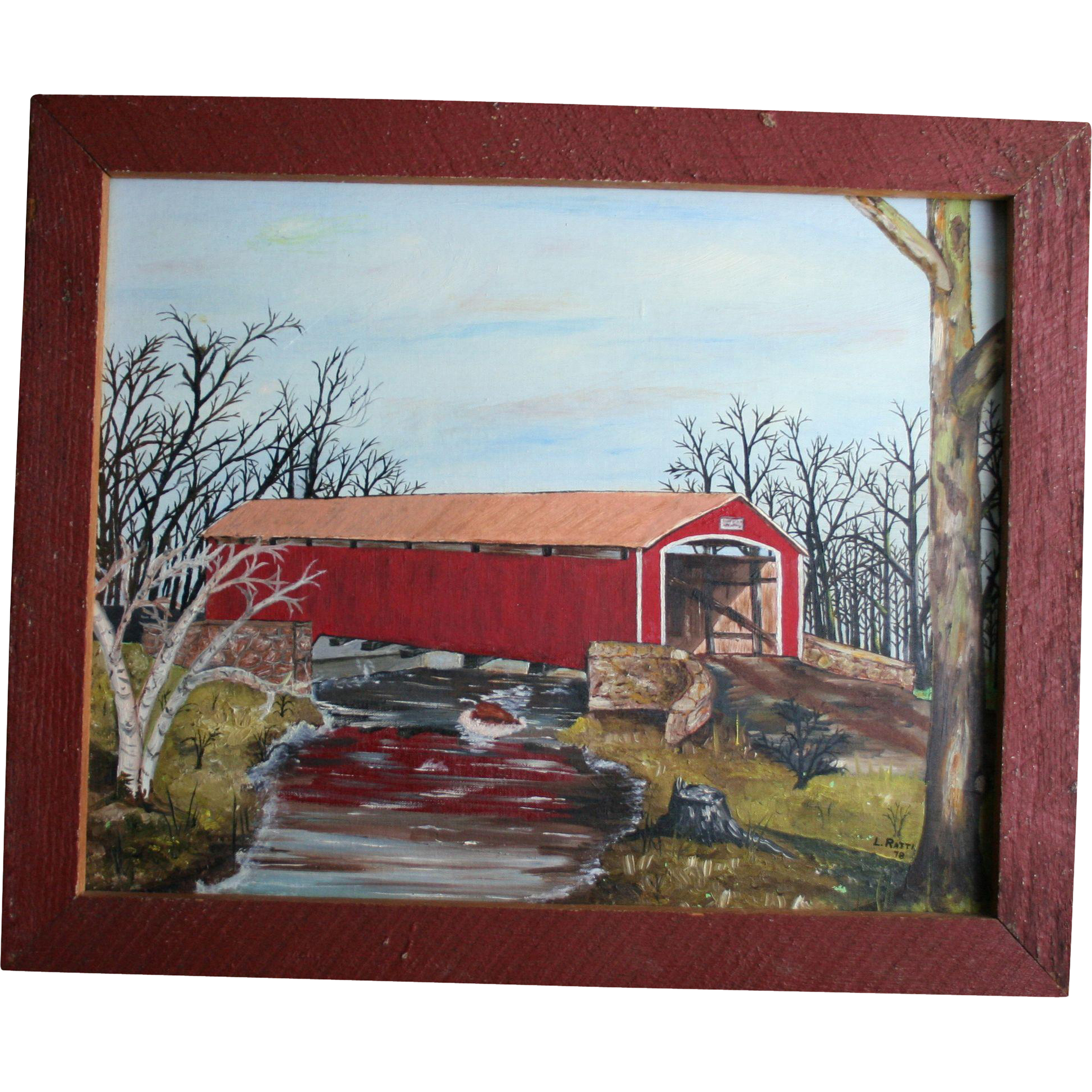 Conewago Creek Pennsylvania Oil Painting Red Covered Bridge Brushtown York