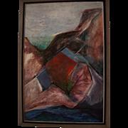 Huge Antique American Cubist Modernist Oil Painting Southwest Oil on Masonite Landscape
