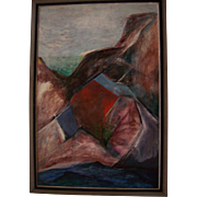 Huge Antique American Cubist Modernist Oil Painting Southwest Oil on Masonite Landscape