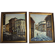 Pair Mid-Century Oil Paintings European Cityscape by Listed Artist Spain Impressionist Landscape