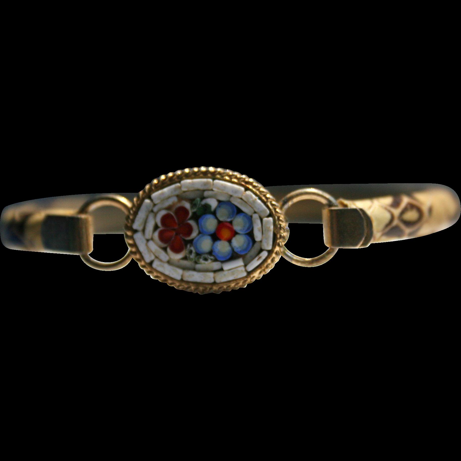Gorgeous Micro Mosaic Tile & Lizard bangle bracelet Red Blue & White Floral Motif