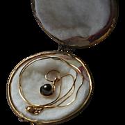 14K Gold Diamond & Black Cultured Pearl Pendant Necklace in Original Clamshell Box