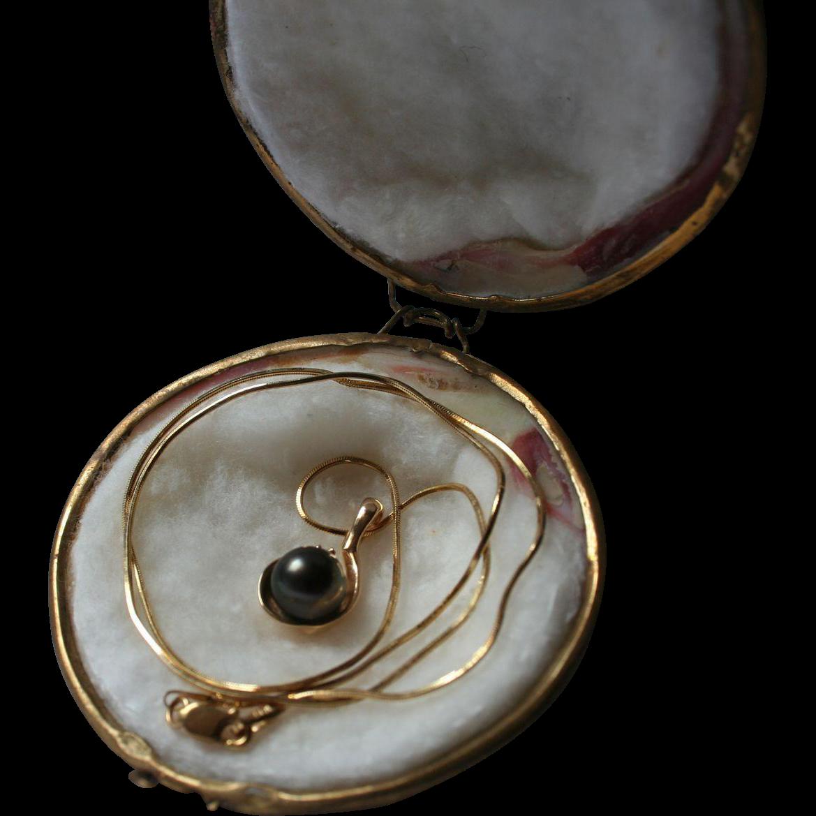 14k Gold Diamond Black Cultured Pearl Pendant Necklace In Original From Randomharvest On Ruby Lane