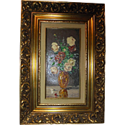 Listed Canadian Artist Constant Fronville Beautiful Original Oil Painting Still Life Flowers in Vase Elaborate Carved Gold Gift Wood Frame Canada Art