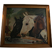 """Endearing Equine Oil Painting After John F. Herring """"Three Members of the Temperance Society"""" Horses at Trough"""