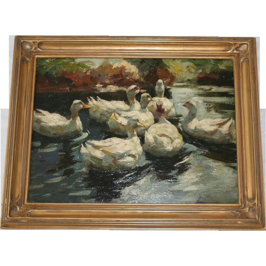 Original Oil Painting Alexander Koester Ducks In A Lake From Randomharvest On Ruby Lane