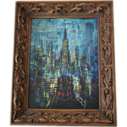 Abstract New York City Trinity Church Oil Painting Mid-Century