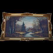 Magnificent Oil Painting European Autumn Landscape Mid-Century