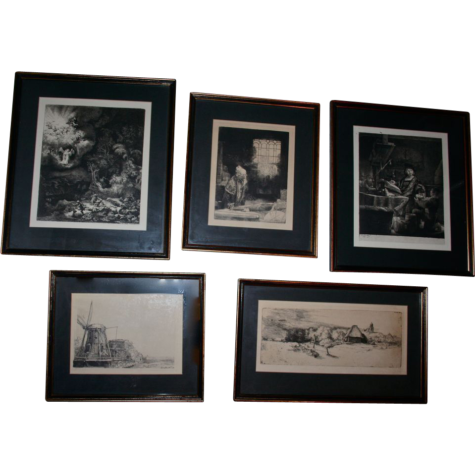 Collection Rembrandt Etchings W Back Stamp Berlin Federal Printers From Randomharvest On Ruby Lane