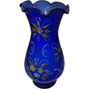 Vintage Opaline Cobalt Blue Glass Vase Raised Enamel Flowers Dots Ruffled