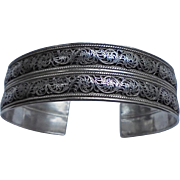 High-End Sterling Silver Relief Double Layered Cuff Bracelet