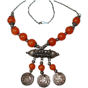 Antique Yemen Jewish Silver Copal Amber Beaded Dated Coins Stone Bridal Necklace