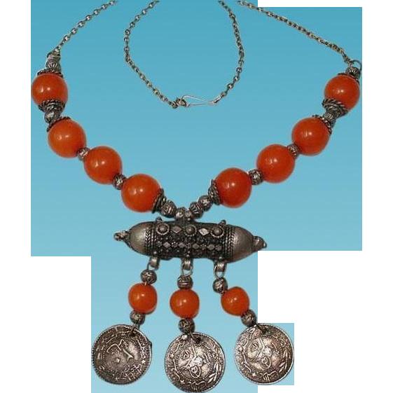 Antique Yemen Jewish Silver Copal Amber Beaded Dated Coins Stone Random Harvest Ruby Lane
