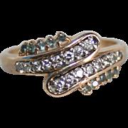 14K Gold Diamond & Blue Topaz Ring TCW .25 Mid-Century