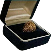 High-End 18K Solid Gold Domed Cocktail Ring Size 5 1/4