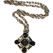 Ciner Maltese Cross Statement Pendant Gold-Plated Runway Pendant Necklace