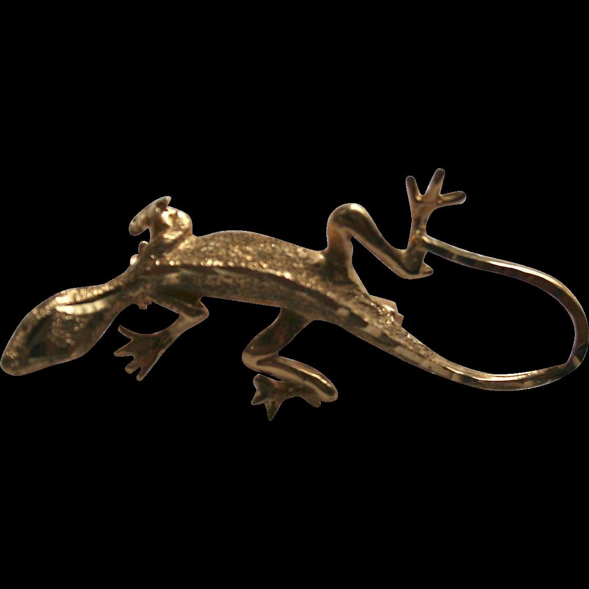 14k Lizard Gecko Salamander Solid Gold Brooch Pin From Randomharvest On Ruby Lane