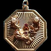 Rare Elks 14K Gold Ruby & Pearl Pendant Charm