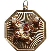Rare Elks 14K Gold Ruby & Pearl Pendant Charm