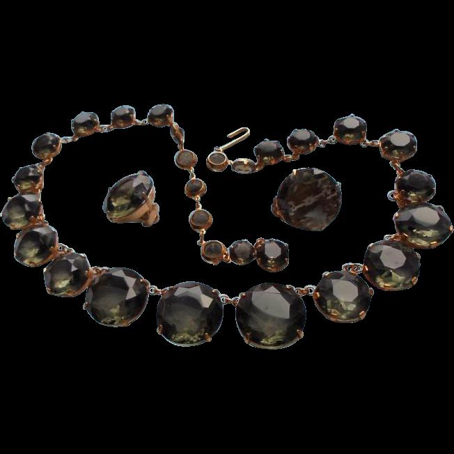 Smoky Topaz Faceted Glass Bezel Set Graduated Bead Necklace & Earrings Set
