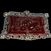 Vegetable Theme Czech Molded Art Glass Figural Rhinestone Brooch Art Deco