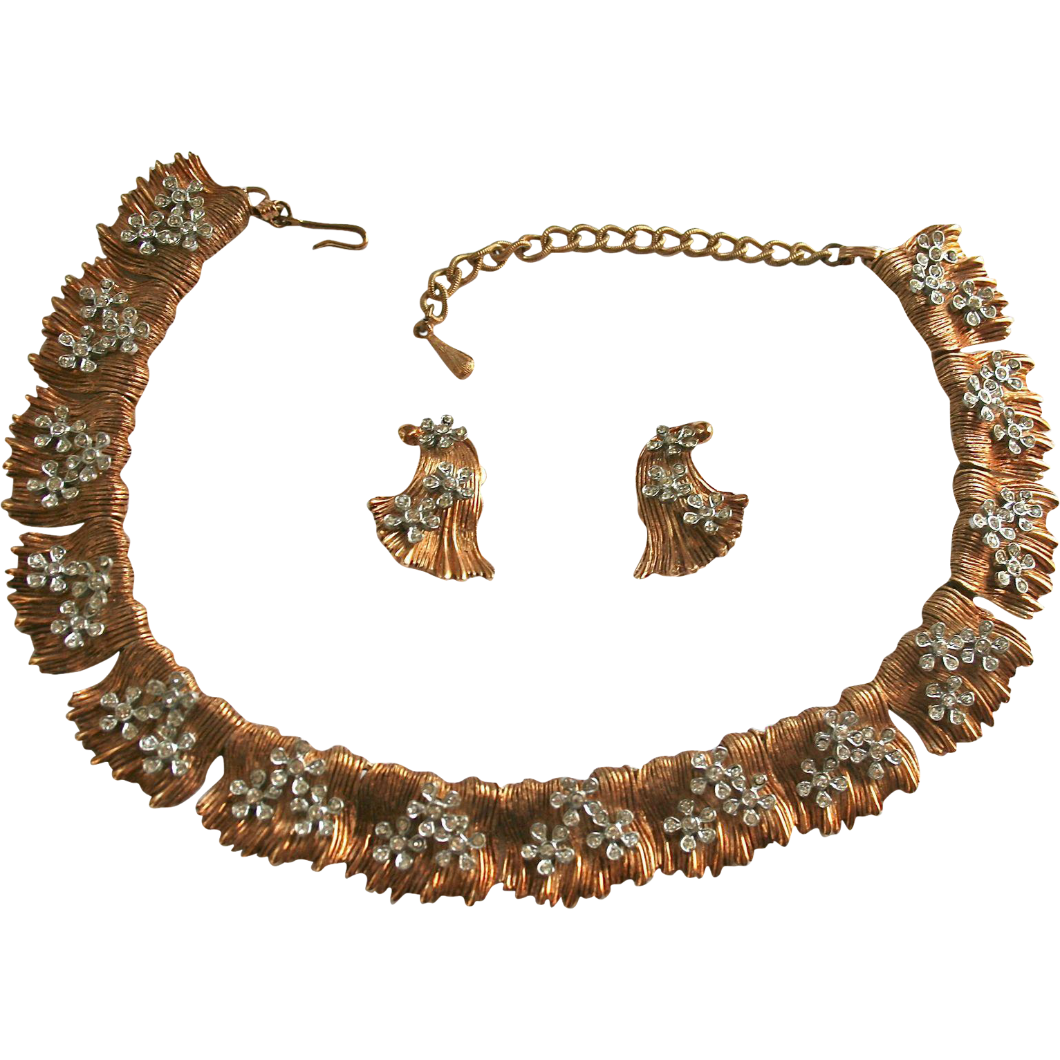 Rare 3-D Raised Rhinestone Gold-Plated Draping Metal Bib Necklace Set