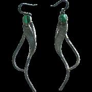 Modernist Sterling & Malachite Pierced Earrings