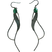 Modernist Sterling & Malachite Pierced Earrings